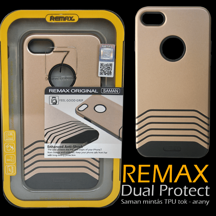 Apple iPhone 7 - Remax Dual Saman TPU mintás tok - arany
