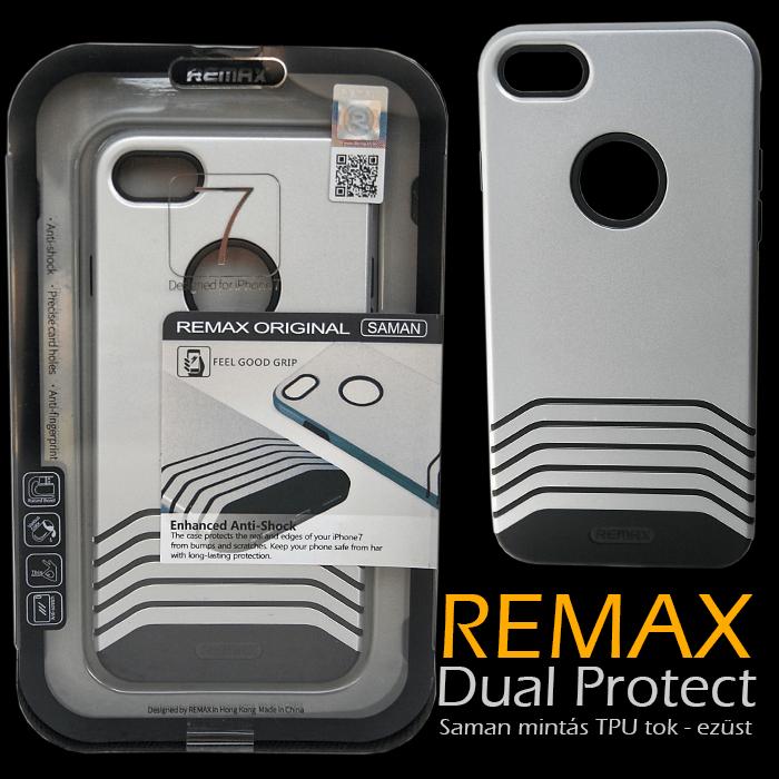 Apple iPhone 7 - Remax Dual Saman TPU mintás tok - ezüst & fekete