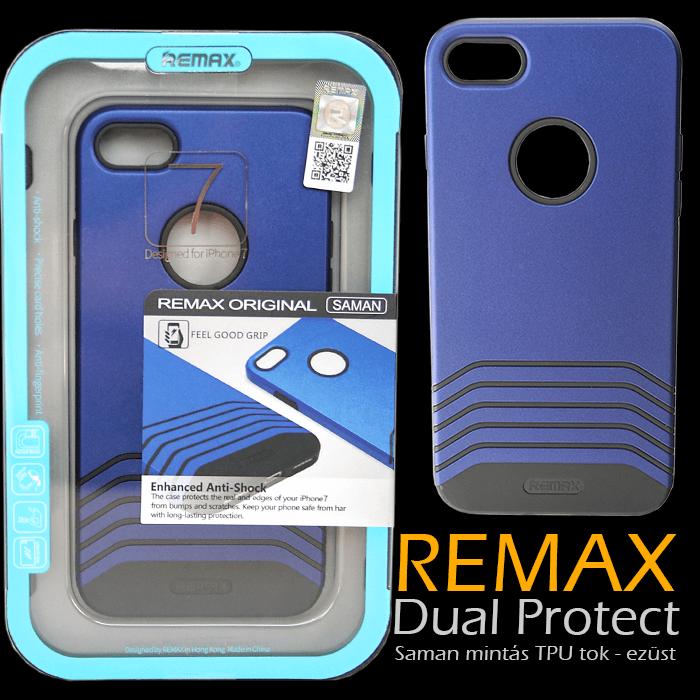 Apple iPhone 7 - Remax Dual Saman TPU mintás tok - Kék & fekete