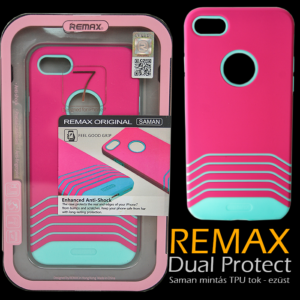 Apple iPhone 7 - Remax Dual Saman TPU mintás tok - Pink & kék