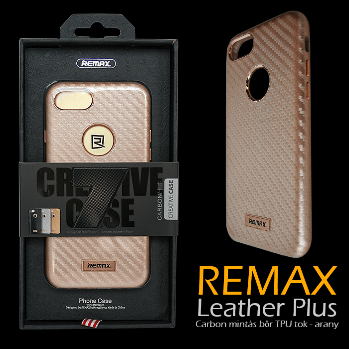 Apple iPhone 7 - Remax Leather Plus Carbon mintás bőr TPU tok - arany