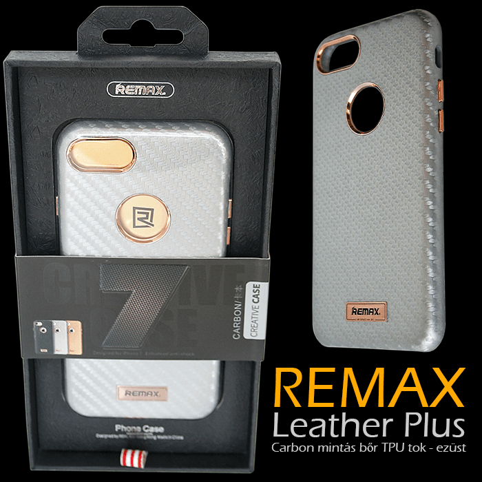 Apple iPhone 7 - Remax Leather Plus Carbon mintás bőr TPU tok - ezüst