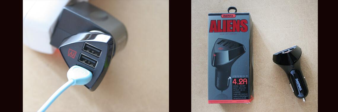 Remax ALIENS 3 USB autós töltő fej 4,2A - szivargyújtóba