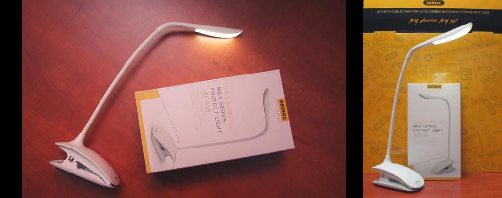 Remax Milk asztali és csíptetős hordozható LED lámpa, állítható fényerőséggel.