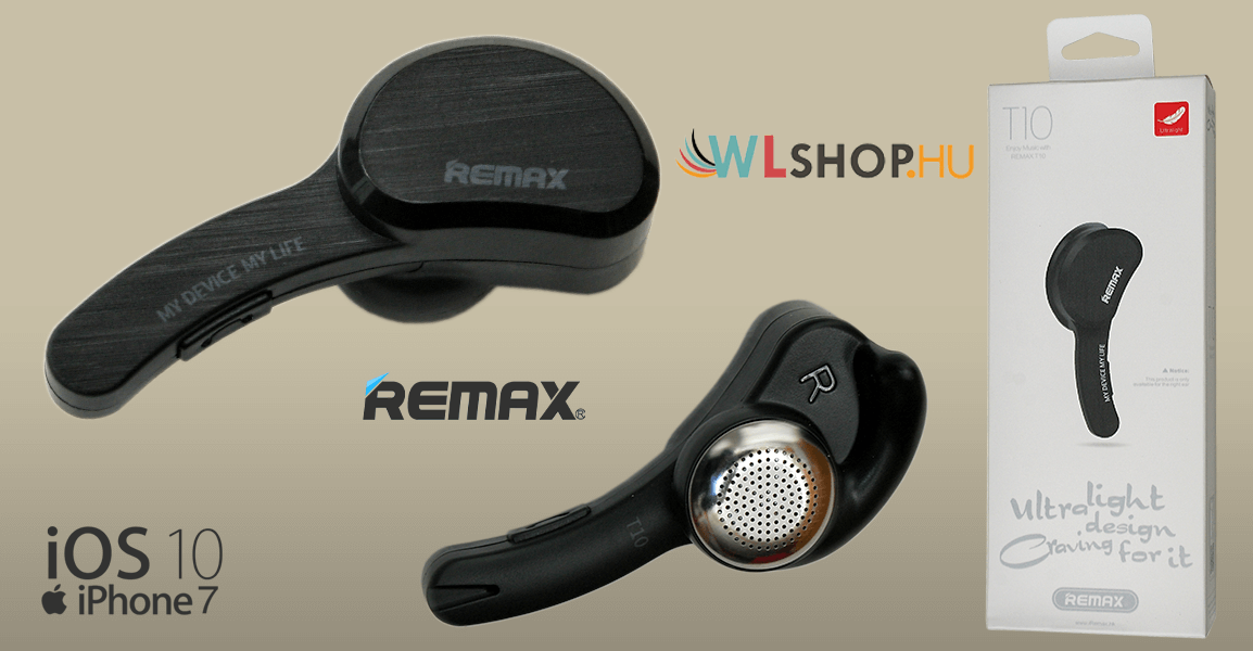 Remax RB-T10 Bluetooth headset - Fekete