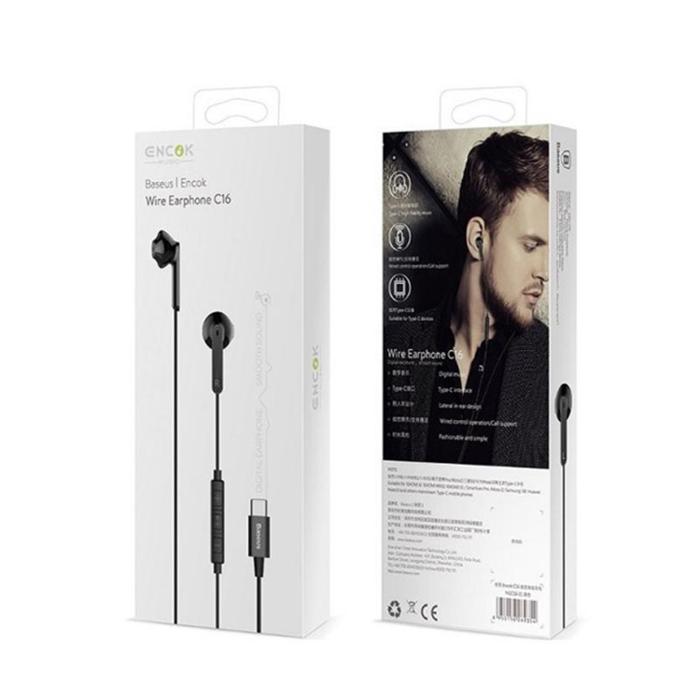 Baseus Encok C16 vezetékes fülhallgató - C típusú USB csatlakozóval