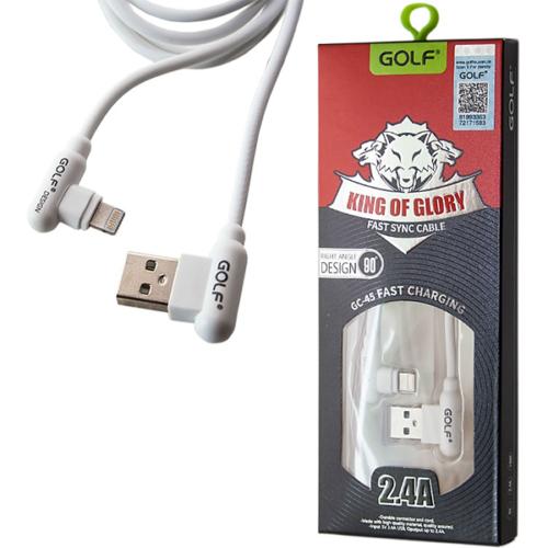iPhone kábel 2.4A – adat/töltőkábel – 90°-os fejjel Golf - Fehér