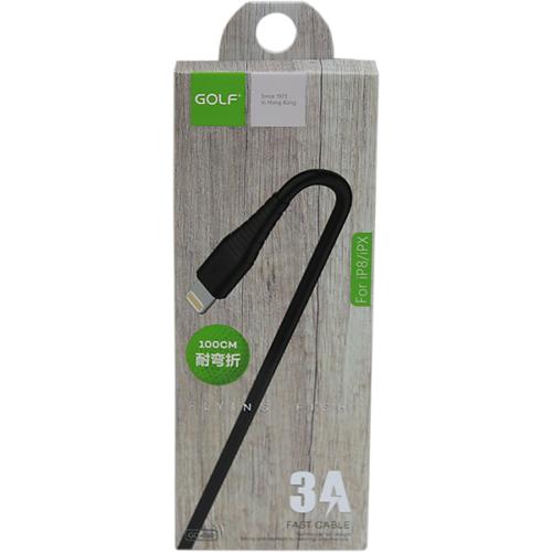 iPhone adat/töltőkábel 3A 1m Golf - Fekete