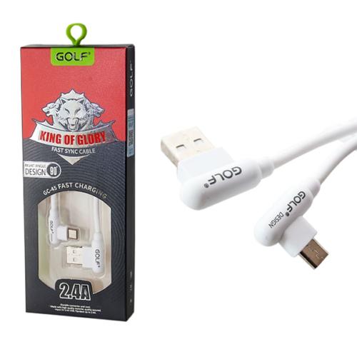 MicroUSB kábel 2.4A – adat/töltőkábel – 90°-os fejjel Golf