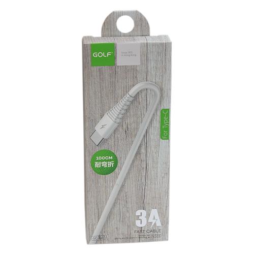 Golf USB-C adat/töltőkábel 3A 1m – Fehér