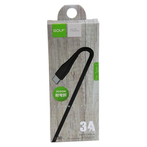 Golf USB-C adat/töltőkábel 3A 1m – Fekete