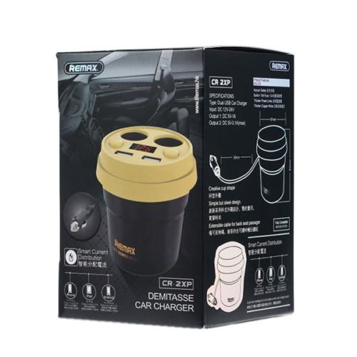 Remax Coffee 2USB 3.1A autós töltő szett - 2 extra szivargyújtó aljzattal