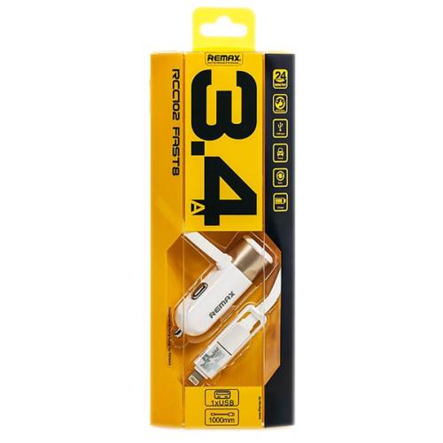 Remax USB autós töltő 3.4A microUSB/lightning kábellel