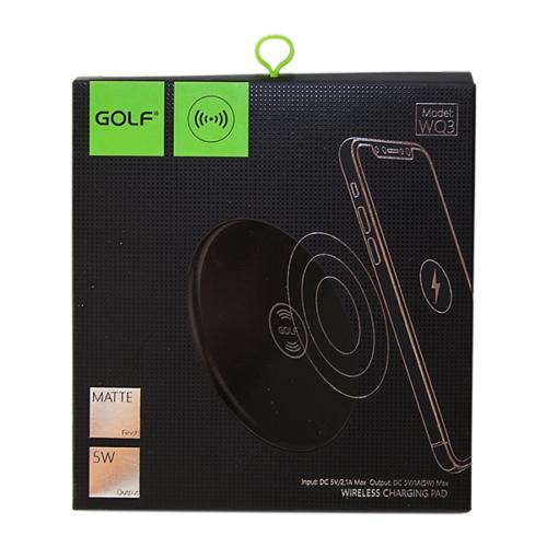 Golf vezeték nélküli - wireless töltő WQ3 2,1A - Fekete