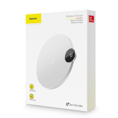 Baseus vezeték nélküli wireless gyorstöltő Digitális Led kijelzős- Fehér